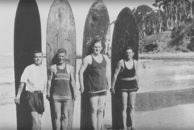 "Image 1 for Rare footage of Victoria's first surfers in 1920 - ""Surfing Hawaiian Redwood Boards at Lorne"""
