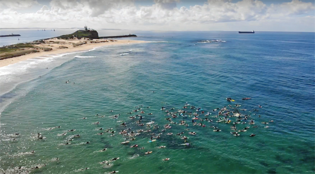 Image 2 for Newcastle paddles out to say STICK IT PEP11 – Byron Bay is next