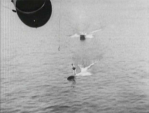 "Image 3 for ""To make King Neptune jealous!"" Blimp tows surfboard rider, 1931"