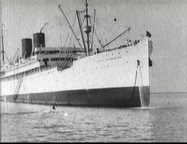 "Image 4 for ""To make King Neptune jealous!"" Blimp tows surfboard rider, 1931"