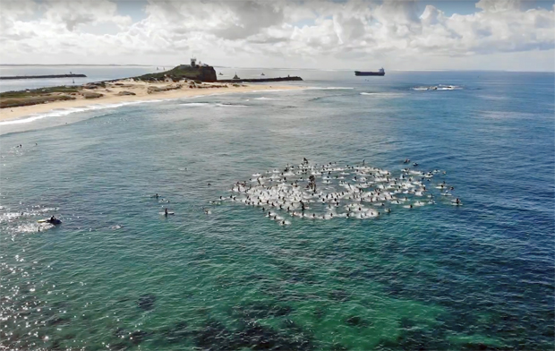 Image 1 for Newcastle paddles out to say STICK IT PEP11 – Byron Bay is next