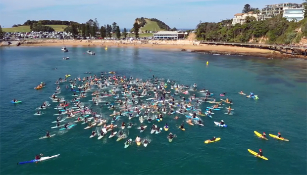 Image 1 for Terrigal paddles out to protest PEP11 - next it's Newcastle