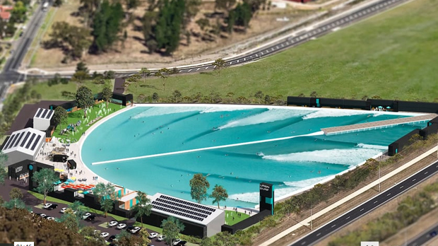 "Image 1 for Work now underway on Melbourne's URBANSURF – the world's first full-sized Wavegarden® ""Cove""."